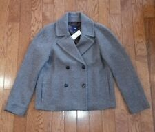 Nwt GAP Women's Taupe Wool Blend Cropped Winter Jacket Peacoat Coat Size MEDIUM