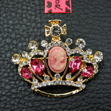 New Pink Crystal Crown Rhinestone Betsey Johnson Charm Brooch Pin