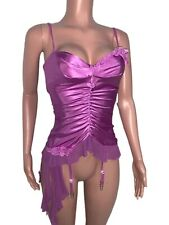 Sexy Purple Crochet Mesh Sateen Hook Up Back Bustier S Shirley Of Hollywood New