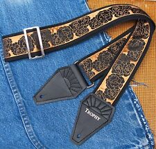 BLACK ROSE Cotton USA made TROPHY Guitar Strap