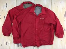 HIS & HER JACKETS - Vtg 70s Red Nylon Stadium Jacket, Frank & Hildegard, L-XL