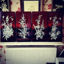 More details for set of 4 chinese oriental lacquered mother of pearl inlay handmade panels.