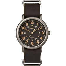 """Timex TW2P85800, Men's """"Weekender"""" Brown Leather Watch, Indiglo, TW2P858009J"""