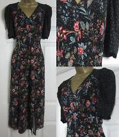 NEW Oasis Floral Print Midi Dress Patch Print Side Slit Black Autumn 8-18 £46