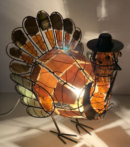Stained Glass Turkey Lamp Cracker Barrel Thanksgiving Traditions Home Decor