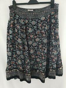Monsoon Pretty Ladies Size 16 Chiffon Layered Flippy Black Skirt Bird Print