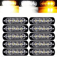 10X White Amber 4 LED Emergency Hazard Flash Strobe Warning Light Truck Trailer