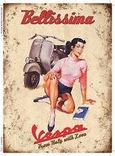 Retro Vintage Metal Sign Plaque Vespa Scooter Bellisima Italy Wall Art Gift