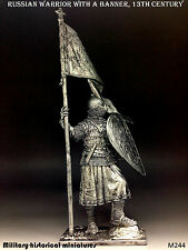 Russian warrior 13 century, Tin toy soldier 54 mm, figurine, metal sculpture
