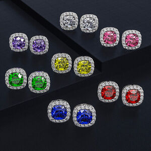 Elegant Square White Sapphire 925 Silver Princess Stud Earrings Jewelry Gifts