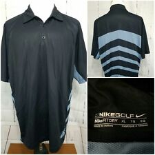 Mens Nike Short Sleeve Polo Collar Athletic Golf Shirt Sz XL Xlarge Black Drifit