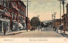 1907? Stores Main St. looking South Sidney NY post card Delaware County