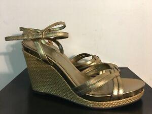 Women's Ralph Lauren PERCY Espadrille Wedge Sandals Metallic New BRONZE US 8.5 B