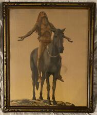 Appeal To The Great Spirit 1920s Vtg Framed Litho Print Indian Warrior Art Deco