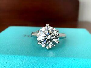 Tiffany & Co Platinum Diamond Round Engagement Ring 3.36 I VS2 3X $111k NEW