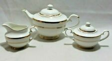 Grace White Porcelain Teapot Sugar Bowl and Creamer Gold Accent Trim New
