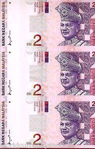 MALAYSIA 2 RINGGIT P40 1999 Uncut sheet 3 PCS FOLDER UNC SATELLITE COMMUNICATION