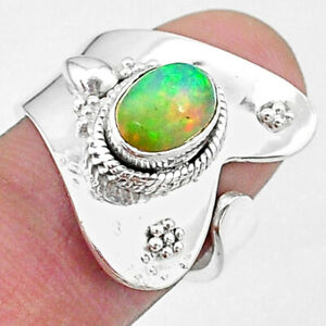 2.21cts Naturale Multicolore Etiope Opale Argento adjustable Ring Misura 7 T8551