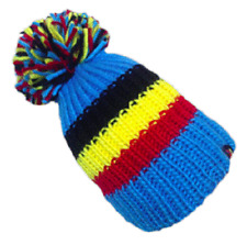 KARMA ACCESSORIES BIG BOBBLE HAT BLACK YELLOW RED STRIPES ONE SIZE FITS ALL BH01