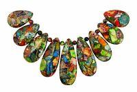 😏 Impressionen Jaspis mit Pyrit Perlen Komposition bunt Tropfen-Perlen-Set 😉