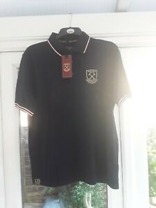 West Ham United ..Stripe Tip Polo Shirt   .. Size Large   ...New WithTag