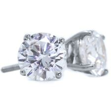 4 Ct Round Cut Stud Diamond Earrings in Solid 14k White Gold Screw Back Studs