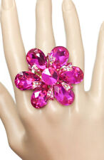 Fuchsia Hot Pink & AB Crystals Stretch Statement Flower Ring Drag Queen Pageant