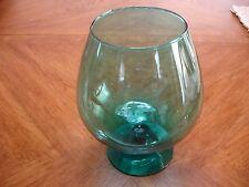 """VINTAGE TEAL LARGE  GLASS GOBLET 9"""" T X 7 1/2"""" W"""