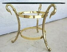 LaBarge Style Hollywood Regency Solid Brass + Glass Swan Neck Side End Table