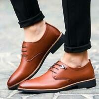Mens Casual Leather Pointed Lace Up Office Business Dress Formal Shoes Oxfords