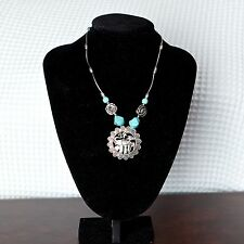 Women's Gypsy Turquoise Stones Elephant Pendant Silver Chain Vintage Necklace