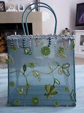 BLUE & BROWN FLORAL EMBELLISHED SHEER BAG