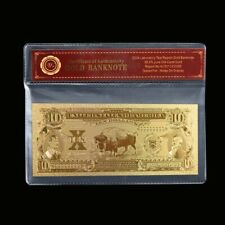 WR 1901 Ten Dollar $10 Bison Legal Tender Gold Note Bill US Banknote In Sleeve