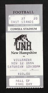 New Hampshire Wildcats--1994 Football Ticket vs Villanova Wildcats--Hall of Fame