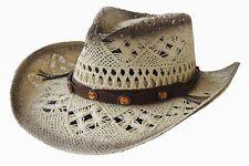 Dallas Hats-Raffia Straw Hat- AMBER STONE CONCHOS - M -7 - 7 1/8 or 56-57 cm
