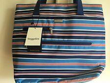 "New BAGGALLINI Tote Bagg Shoulder  Bag Handbag  Blue Stripes   13"" x 15""x 4"""