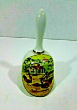 vintage porcelain bell, rooster country scene, made in Japan