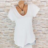 MADE IN ITALY Basic Shirt Kurzarm Zier-Knöpfe Blogger weiß 36 38 40 42