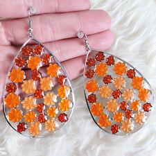 Lovely Womens Big Hollow Teardrop Orange Flowers Chandelier Dangle Hook Earrings