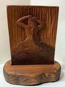 Classic Beauty Original Cherry Relief Woodblock Female Nude Bather Unique Figure