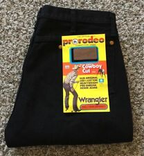 Vtg Dead Stock Wrangler Super Black Jean Straight Leg Zipper 36x30 Made in US