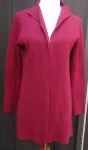 EILEEN FISHER Petite Medium, open front knit long blazer jacket silk blend