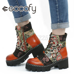 SOCOFY Women Cowhide Leather Ankle Boot Cloth Splicing Platform Shoes Short Boot