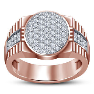 Mens 1.50 Ct 10K Rose Gold Over Round Diamond Engagement Band Pinky Ring