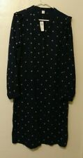 NWT Old Navy Blue Purple Polkadot Womens Long Sleeve Ruffle Dress Size M Tall