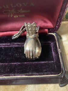 CUPPED HANDS Vintage Glove Handbag Clip Ornate Goldtone Marcasite VictorianStyle
