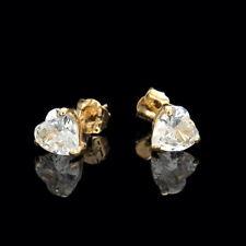 Heart Created Diamond Earrings 1.50 CT Studs 14K Solid Yellow Gold Heavy Basket