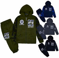 Boys Tracksuit Camo Jumper Kids Hoodie And Joggers Slogan Set 2PSC Ages 2-10 Yrs