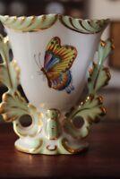 Herend-Hungary Kleine Vase abgebildet Schmetterlinge Blumen 10 x 10 cm