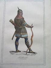 GRAVURE ORIGINALE COSTUME  1860  GUERRIER AU COMBAT KALMOUK MONGOLIE